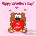 10680 royalty free clipart smiling brown teddy bear cartoon mascot character holding a valentine love heart with text be mine vector greeting card and text happy valentine day gif, png, jpg, eps, svg, pdf