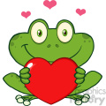 10655 royalty free rf clipart cute frog cartoon mascot character holding a valentine love heart vector illustration gif, png, jpg, eps, svg, pdf