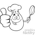 10963 royalty free rf clipart black and white chef egg cartoon mascot character showing thumbs up and holding a frying pan vector illustration gif, png, jpg, eps, svg, pdf