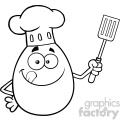 10961 royalty free rf clipart black and white chef egg cartoon mascot character licking his lips and holding a spatula vector illustration gif, png, jpg, eps, svg, pdf