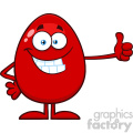 10951 Royalty Free RF Clipart Smiling Red Easter Egg Cartoon Mascot Character Showing Thumbs Up Vector Illustration