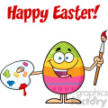 10950 royalty free rf clipart happy colored easter egg cartoon mascot character holding a paintbrush and palette vector with text happy easter gif, png, jpg, eps, svg, pdf