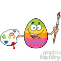 10977 royalty free rf clipart happy colored easter egg cartoon mascot character holding a paintbrush and palette vector illustration gif, png, jpg, eps, svg, pdf