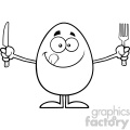 10937 royalty free rf clipart black and white cute egg cartoon mascot character licking his lips and holding silverware vector illustration gif, png, jpg, eps, svg, pdf