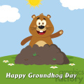 10645 royalty free rf clipart happy marmmot cartoon mascot character waving in groundhog day vector flat design with background and text happy groundhog day gif, png, jpg, eps, svg, pdf