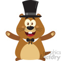 10632 Royalty Free RF Clipart Smiling Marmot Cartoon Mascot Character With Hat And Open Arms In Groundhog Day Vector Flat Design With Background Isolated On White