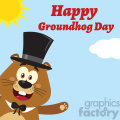 10640 royalty free rf clipart smiling marmot cartoon mascot character with hat waving from corner vector flat design with background and text happy groundhog day gif, png, jpg, eps, svg, pdf