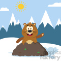 10642 Royalty Free RF Clipart Happy Marmmot Cartoon Mascot Character Waving In Groundhog Day Vector Flat Design With Background