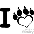 10710 Royalty Free RF Clipart I Love Dog With Black Heart Paw Print With Claws Logo Design Vector Illustration