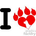 10705 royalty free rf clipart i love with red heart paw print with claws and dog head silhouette logo design vector illustration gif, png, jpg, eps, svg, pdf