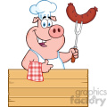 10719 royalty free rf clipart chef pig cartoon mascot character holding a sausage on a bbq fork over a wooden sign giving a thumb up vector illustration gif, png, jpg, eps, svg, pdf