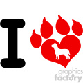 10704 Royalty Free RF Clipart I Love With Red Heart Paw Print With Claws And Dog Silhouette Logo Design Vector Illustration