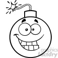 10823 Royalty Free RF Clipart Black And White Smiling Bomb Face Cartoon Mascot Character With Expressions Vector Illustration