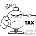 10806 royalty free rf clipart black and white angry bomb cartoon mascot character pointing and holding a tax sign form vector illustration gif, png, jpg, eps, svg, pdf
