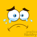 10889 Royalty Free RF Clipart Crying Cartoon Square Emoticons With Tears And Expression Vector With Yellow Background