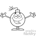 10801 Royalty Free RF Clipart Black And White Bomb Cartoon Mascot Character With Open Arms For Hugging Vector Illustration