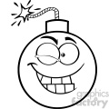 10817 Royalty Free RF Clipart Black And White Winking Bomb Face Cartoon Mascot Character With Expressions Vector Illustration
