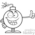 10789 Royalty Free RF Clipart Black And White Winking Bomb Cartoon Mascot Character Giving A Thumb Vector Illustration