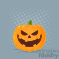Grinning Evil Halloween Pumpkin Cartoon Emoji Face Character With Expression Vector Illustration Flat Design Style With Background