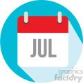 july calendar vector icon