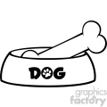 Royalty Free RF Clipart Illustration Black And White Dog Bowl With Bone Drawing Simple Design Vector Illustration Isolated On White Background