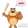 Angry Brown Bulldog Cartoon Mascot Character Holding A Bat And Pointing With Speech Bubble And Text Pay