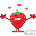 Royalty Free RF Clipart Illustration Strawberry Fruit Cartoon Mascot Character With Hearts And Open Arms For Hugging Vector Illustration Isolated On White Background