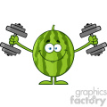 Royalty Free RF Clipart Illustration Healthy Green Watermelon Fresh Fruit Cartoon Mascot Character Training With Dumbbells Vector Illustration Isolated On White Background