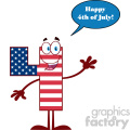 Happy Patriotic Number Four In American Flag Cartoon Mascot Character Waving For Greeting With Speech Bubble And Text Happy 4 Of July