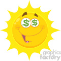 Royalty Free RF Clipart Illustration Funny Yellow Sun Cartoon Emoji Face Character With Dollar Eyes And Smiling Expression Vector Illustration Isolated On White Background