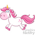 Clipart Illustration Cute Magic Unicorn Cartoon Mascot Character Running Vector Illustration Isolated On White Background