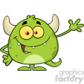 Happy Green Monster Cartoon Emoji Character Waving For Greeting Vector Illustration Isolated On White Background