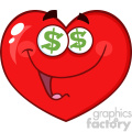 Happy Red Heart Cartoon Emoji Face Character With Dollar Sign Eyes Vector Illustration Isolated On White Background