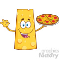 Cheese Cartoon Mascot Character Presenting A Perfect Pizza Vector Illustration Isolated On White Background