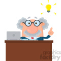 Professor Or Scientist Cartoon Character Behind Desk With A Big Idea Vector Illustration Flat Design Isolated On White Background