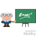 Professor Or Scientist Cartoon Character With Pointer Presenting Einstein Formula Vector Illustration Flat Design Isolated On White Background
