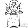 cartoon clipart frog 021 bw