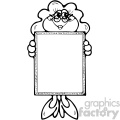 cartoon clipart frog 022 bw