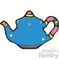 blue cartoon vector teapot