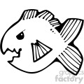 cartoon vector fish 003 bw