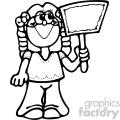 black and white girl holding sign