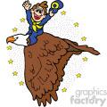 cartoon man riding bird vector art