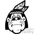 black and white native american boy art