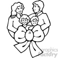 black and white family vector art