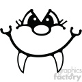 black and white cartoon face with fangs