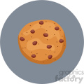 chocolate chip cookie vector flat icon clipart with circle background