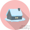 snow covered cabin on pink background