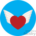 heart with wings for valentines blue background