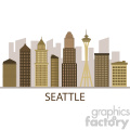 downtown seattle skyline vector design with label