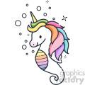 seahorse unicorn vector icon clipart